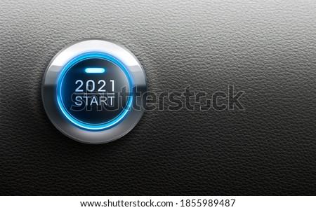 Start button Year 2021 - 3D illustration Foto stock ©