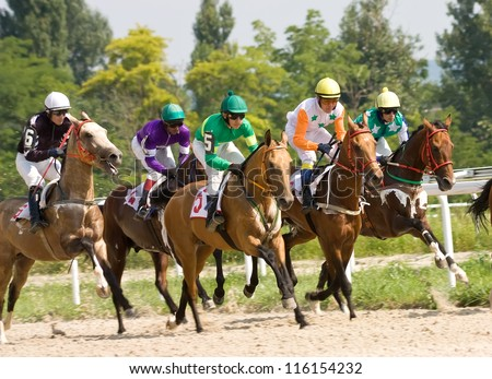 Start gates for horse races for the prize of Pyatigorsk,Northern Caucasus, Russia.