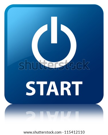 Start glossy blue reflected square button