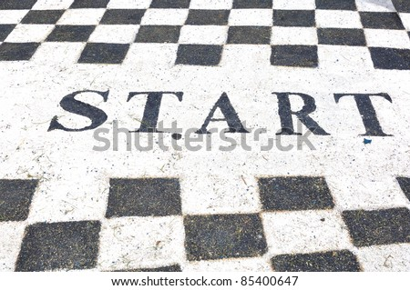 Start label on jogging lane in garden