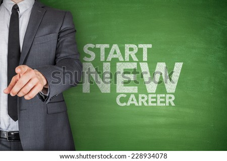 Start new career on black Blackboard with businessman