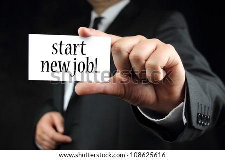 start new job - business card