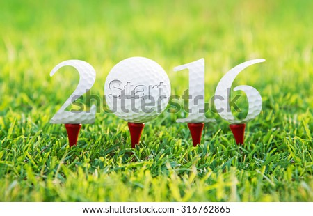 Start new year 2016, Golf sport conceptual image.