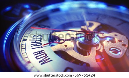 Start Now. on Watch Face with CloseUp View of Watch Mechanism. Time Concept. Film Effect. Watch Face with Start Now Text on it. Business Concept with Lens Flare Effect. 3D Illustration.