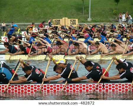 Start of a dragon boat race in Montreal
