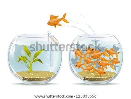 Start of a New Life. Illustration of fish jumping out of the crowded aquarium into a new life.