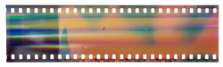 Start of 35mm negative filmstrip, first frame on white background, real scan of film material with cool scanning light interferences on the material.