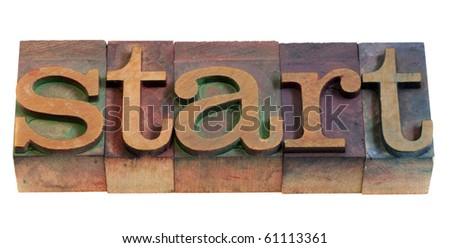 start or beginning concept - word spelled in vintage wooden letterpress printing blocks