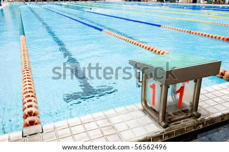 Start position with number 1 in competition swimming pool.