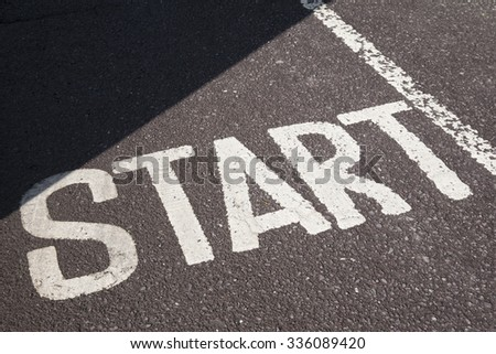 Start Sign on Paved Surface #336089420