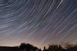 Start trails during the Lyrid Meteor Shower, April 2020, Herefordshire, UK