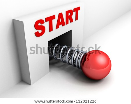 start up business concept with red sphere and spring spiral