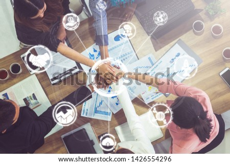 Start Up Business of Creative People Concept - Modern graphic interface showing symbol of entrepreneurship, fund, and project plan to start a new small business by smart group of entrepreneur. Stockfoto ©