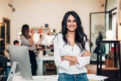 Start up of enterprise, women leader the new company self-confident