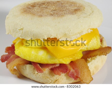 Start your morning right with this delicious breakfast sandwich… an English muffin filled with bacon, eggs, and cheese!