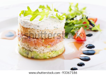 Starter with salmon tartare and salad