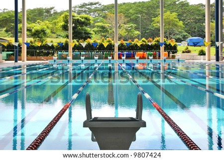 starting block and empty pool