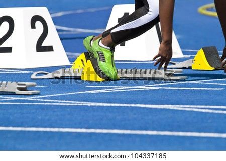 Starting female sprinter