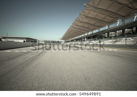 Starting & finishing point of a race track with patron grandstand alongside, Sepang F1 circuit malaysia #549649891