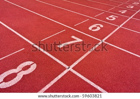 starting line with numbers of track and field sports