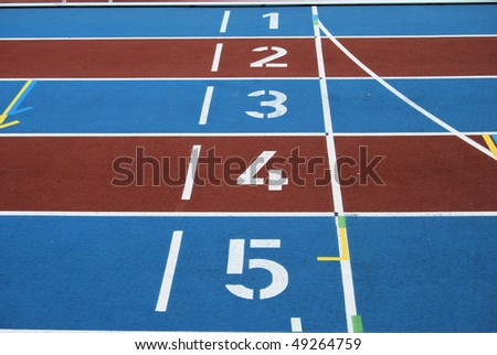Starting numbers on an athletic track