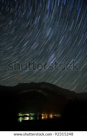 Startrails over a mountain in Austria in Europe
