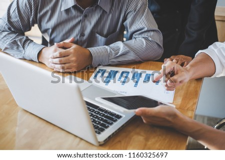 Startup business people group meeting, Business team meeting working with new startup project, discussion and analysis data the charts and graphs, professional business team. #1160325697