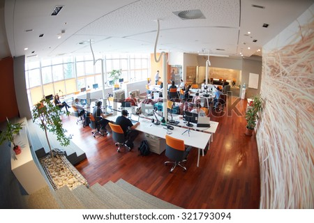 Shutterstock startup business people group working everyday job  at modern office