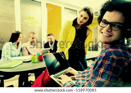 startup business people group working everyday job at modern office. Tech office, tech company, tech startup, tech team. #518970085