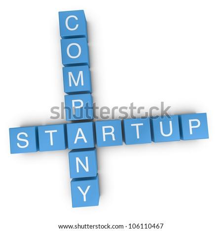 Startup company crossword on white background, 3D rendered illustration