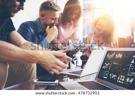 Startup Diversity Teamwork Brainstorming Meeting Concept.Business Team Coworker Global Sharing Economy Laptop Graph Screen.People Working Planning Start Up.Group Young Man Women Looking Report Office #478732903