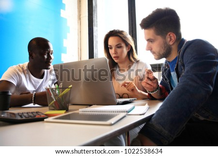 Startup Diversity Teamwork Brainstorming Meeting Concept.Business Team. People Working Planning Start Up.Group Young Hipsters Discussing Cafe #1022538634