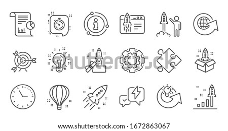 Startup line icons. Launch Project, Business report and Target. Strategy linear icon set. Quality line set.