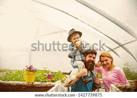 startup production. business startup production. startup production of happy family in greenhouse