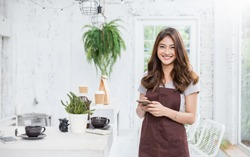Startup successful small business owner woman sme beauty girl standing in coffee shop restaurant. Portrait of young asian woman barista cafe local owner. SME sell online entrepreneur business banner