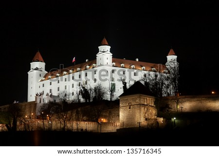 Stary hrad castle in Bratislava at night with illumination