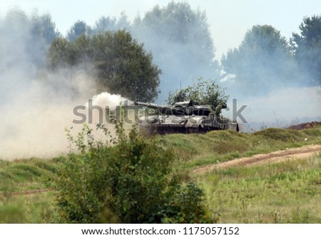 Starytchi, Ukraine - September 6, 2018. Military exercises with the United States and other NATO countries in Lviv region, Ukraine. Rapid Trident - 2018 military exercises in Ukraine.