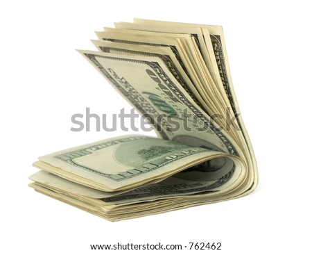 Stash of Folded in Half Hundred Dollar Bills Isolated on White Background