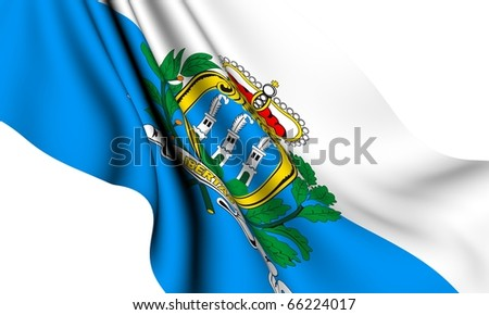 State and war flag of San Marino against white background.