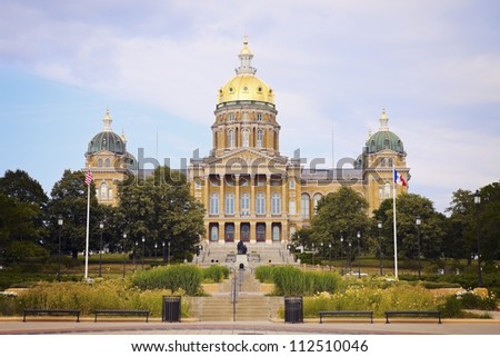 State Capitol Building in Des Moines, Iowa, USA - stock photo