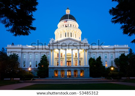 State Capitol Building in Sacramento at night