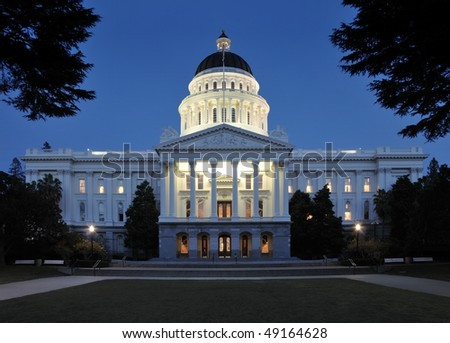 State Capitol Building in Sacramento, California at Twilight
