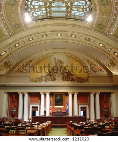 State capitol building senate office interior, super wide angle