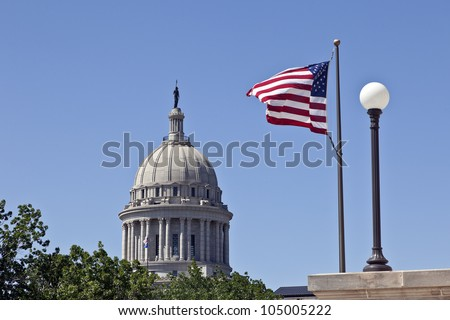State Capitol in Oklahoma City with Flags, Oklahoma , USA