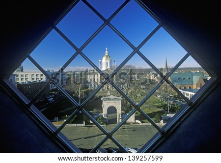 State Capitol of New Hampshire through a window in Concord, NH - stock photo
