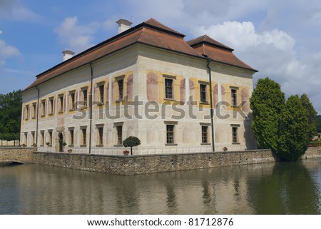 State Chateau Kratochvile, Czech Republic (Eastern Europe). Inside the castle garden was established in the Renaissance style with fountains. From the villa is separated by a moat.