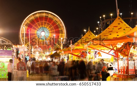 State Fair Carnival Midway Games Rides Ferris Wheel Photo stock ©