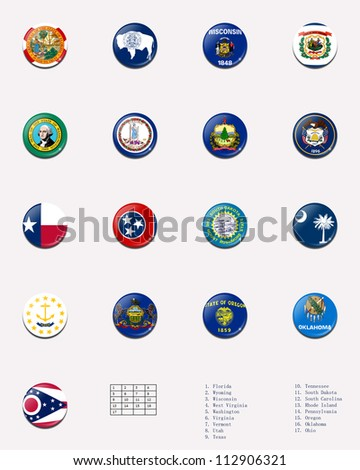 State flag ball/stamp of UNITED STATES 2/3