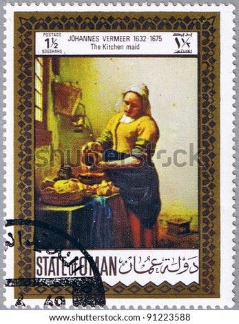 STATE OF OMAN - CIRCA 1969: A stamp printed in State of Oman shows painting by Johannes Vermeer - The Kitchen maid, series, circa 1969