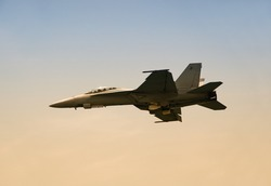 State of the art US navy jet at dawn